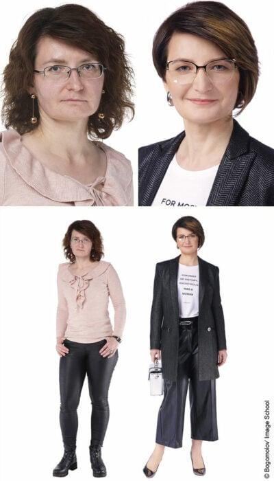 Mujer antes y después de un cambio de look radical con traje sastre en color gris