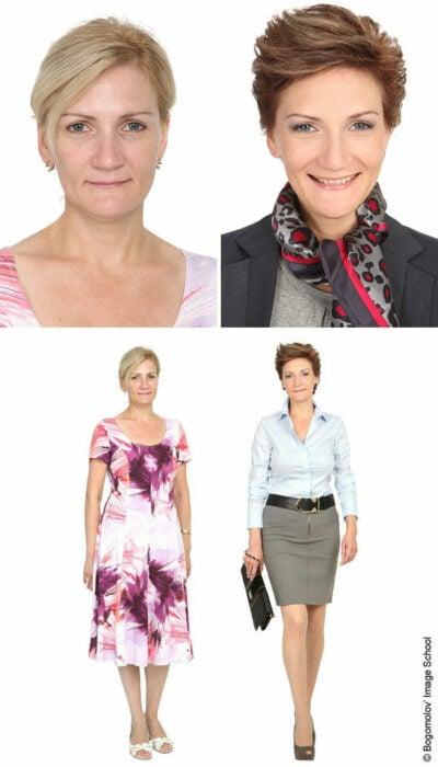 Mujer antes y después de un cambio de look radical con falda larga en tonos olivo
