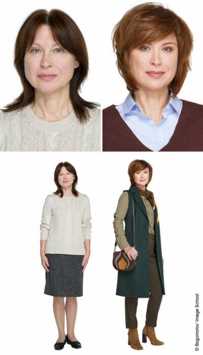 Mujer antes y después de un cambio de look radical con outfit verde y blazer largo