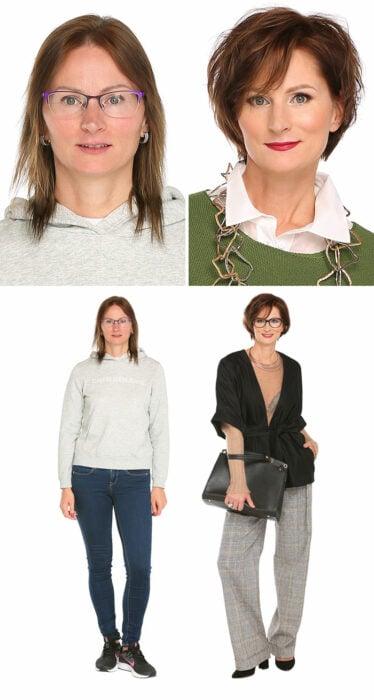 Mujer antes y después de un cambio de look radical con jeans de mezclilla y blusa negra