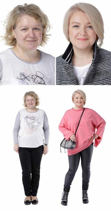 Mujer antes y después de un cambio de look radical con jeans negros y suéter en rosa