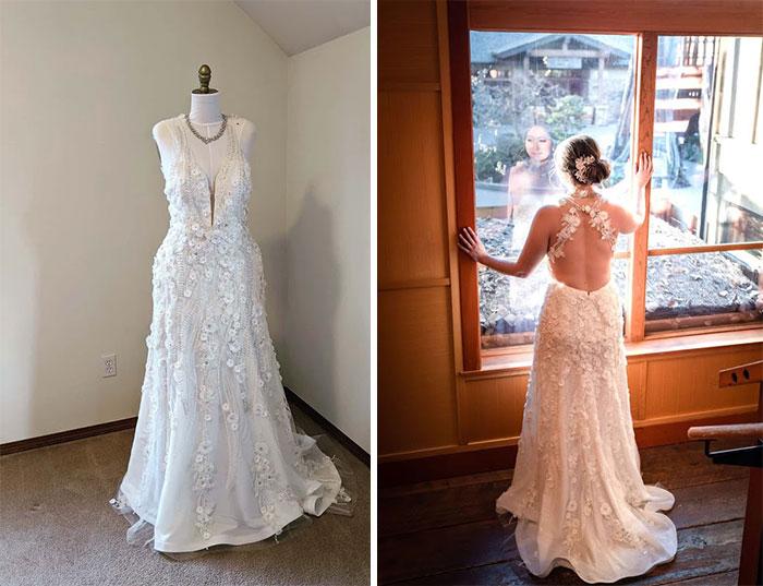 Novia mirando hacia afuera de una ventana de madera con un vestido pegado al cuerpo con detalles de flores y encaje desde el escote a la falda con una espalda descubierta con dos tirantes cruzados