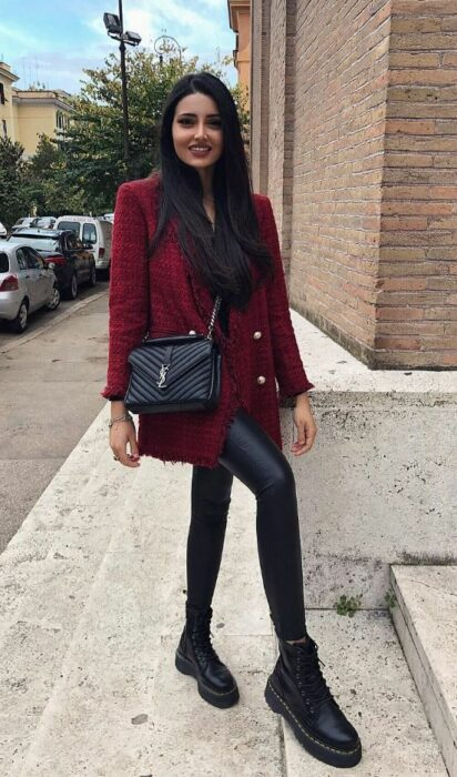 Outfit for the autumn-winter office of burgundy coat, black vinyl leggings and black ankle boots