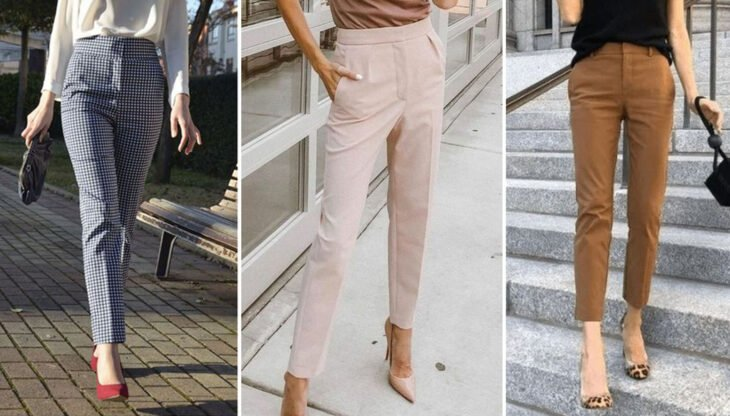 From left to right: Blue checked dress pants with white, baby pink and caki