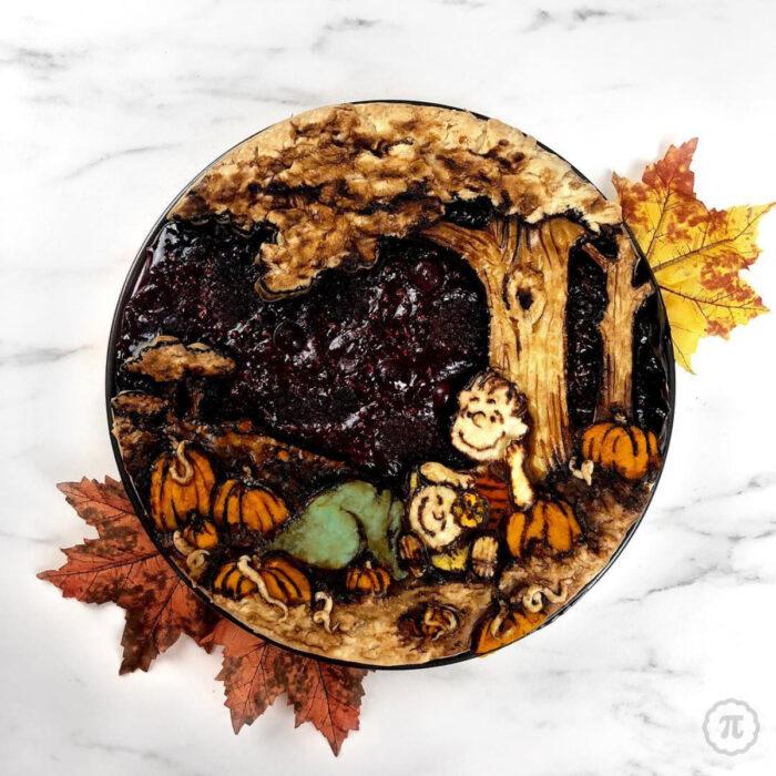 Artista repostera Jessica Clark-Bojin crea pays de Halloween; Charlie Brown, Linus van Pelt y Sally