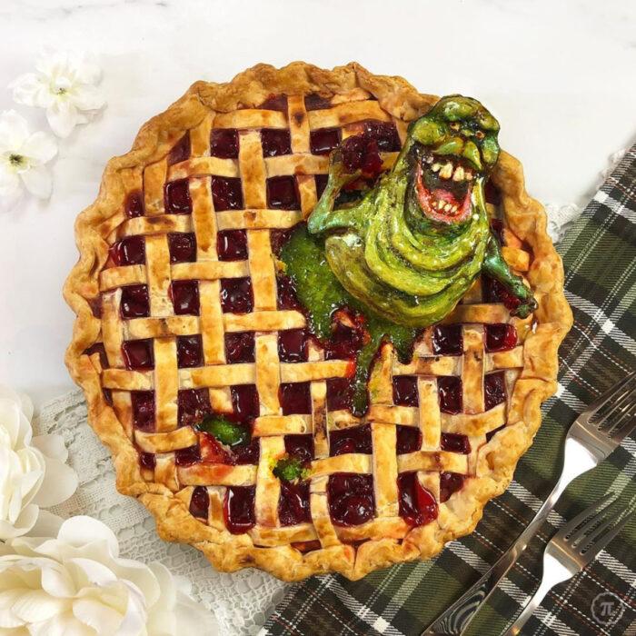 Artista repostera Jessica Clark-Bojin crea pays de Halloween; Los cazafantasmas, Ghostbusters, Slimer, monstruo verde