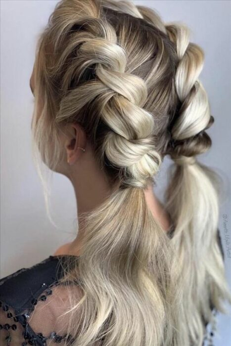 girl with double braided pigtails