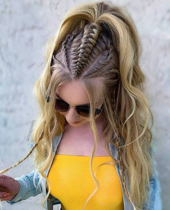 girl with half ponytail to braids