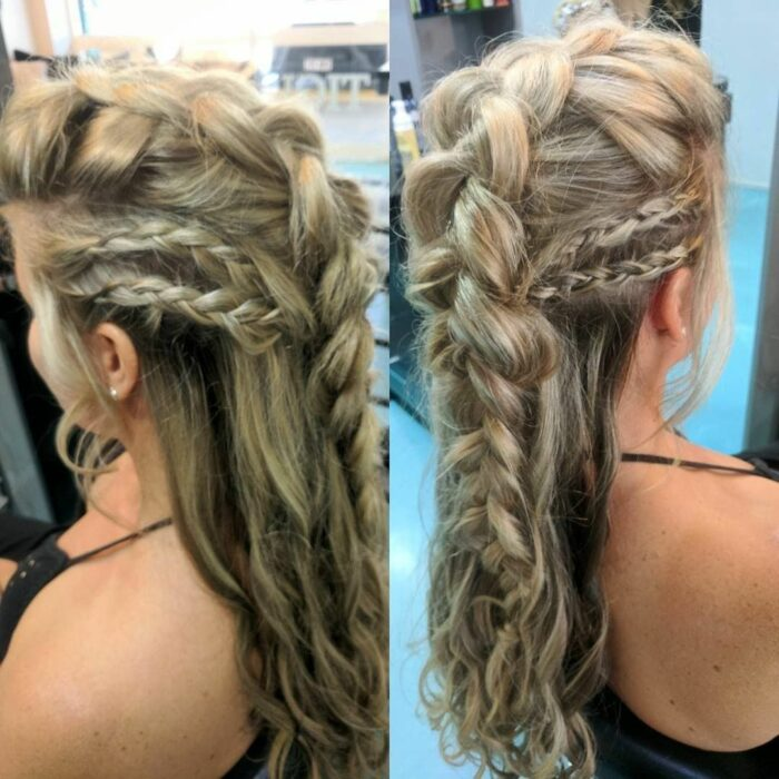 Girl with braided hair like a Viking