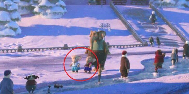 Escena de la película Zootopia mostrando a elefantes vestidos como Anna y Elsa