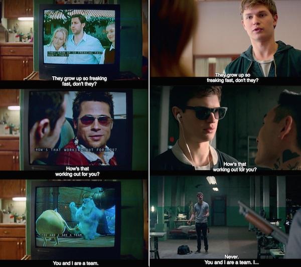 Escena de la película Baby Driver repitiendo diálogos de películas