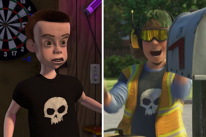 Escena de la película Toy Story 3 mostrando a Sid como recolector de basura