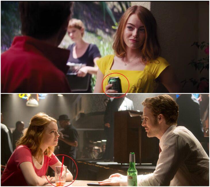 Escena de la película La La Land con Mia bebiendo soda