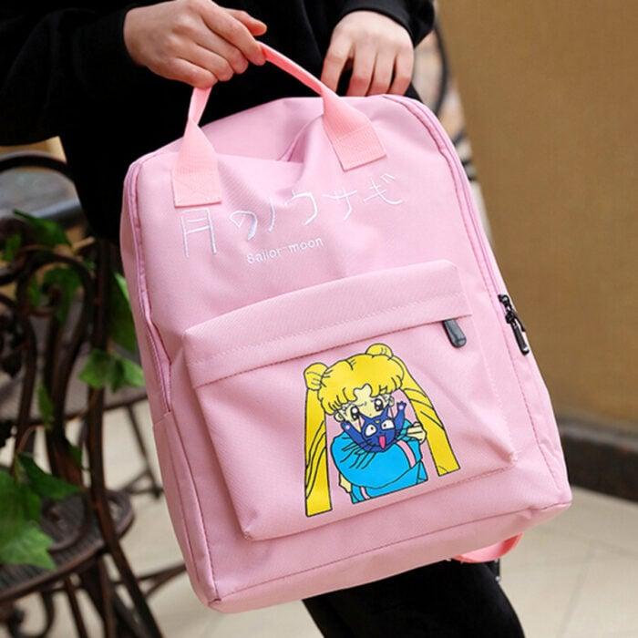 Regalos de Sailor Moon; mochila rosa con estampado de Serena Tsukino