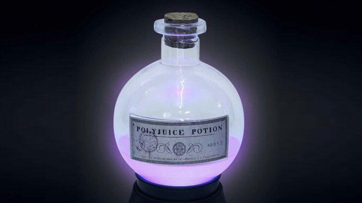Lampara en forma de poción multijugos inspirada en Harry Potter