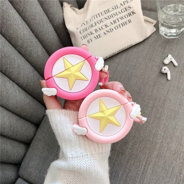 Estuches de airpods color rosa inspirados en sakura card captor