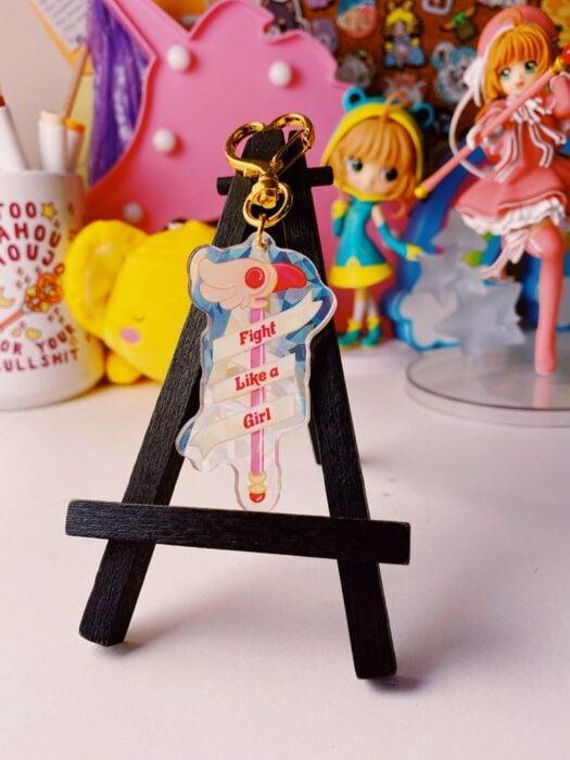 Llavero de cristal cortado inspirado en sakura card captor