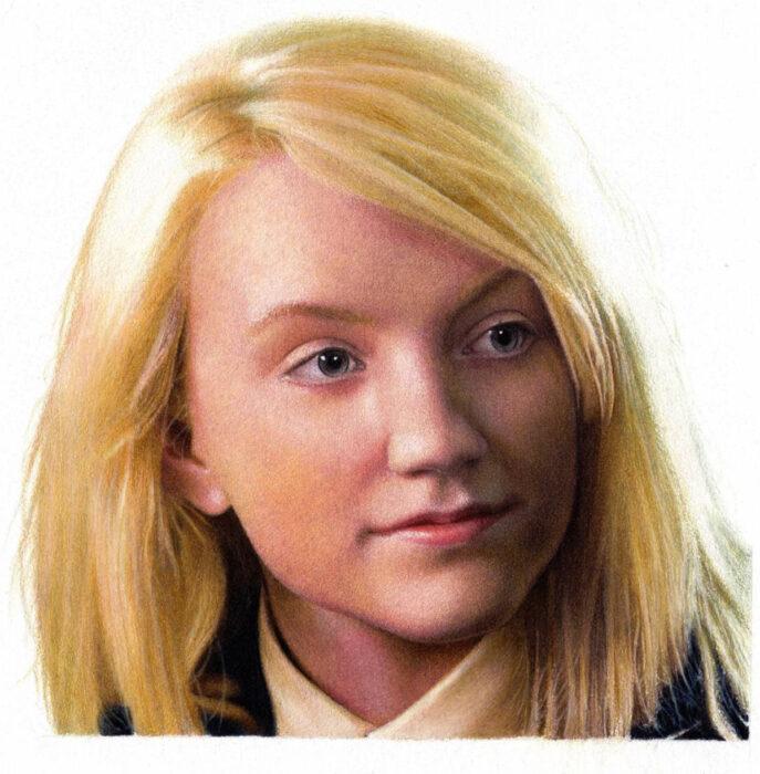 Artista Shaun Mckenzie pinta retratos realistas con lápices de colores; Evanna Lynch, Luna Lovegood, Harry Potter