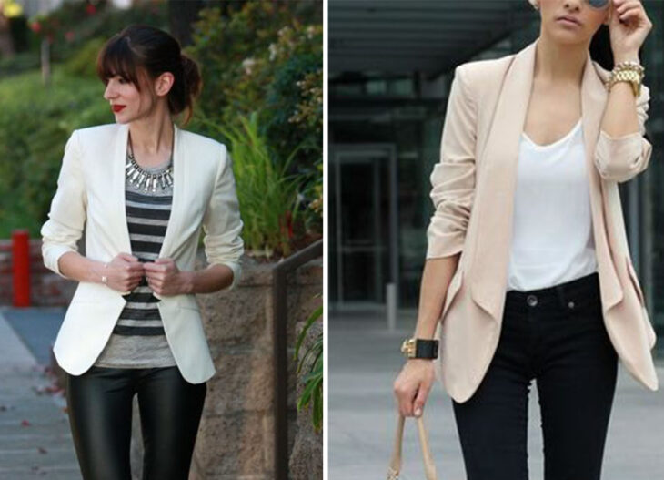left side: Girl wearing black leggings, with gray blouse and black stripes and nude jacket. Right side: Girl wearing black jeans, white blouse and nude jacket