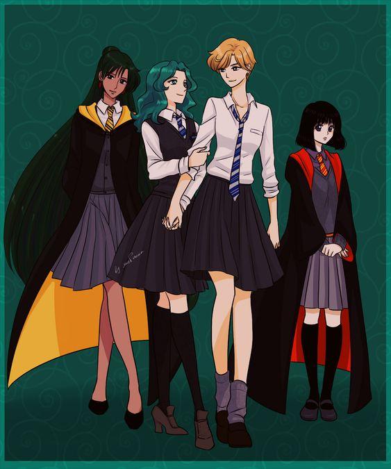 Sailor Neptuno y Sailor Urano de Sailor moon con uniforme de Ravenclaw de Hogwarts