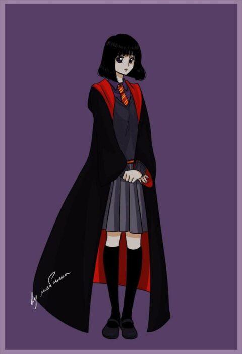 Sailor saturno con uniforme de Gryffindor de Hogwarts