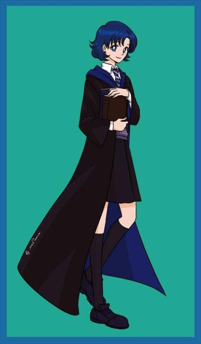Amy de Sailor moon con uniforme de Ravenclaw de Hogwarts