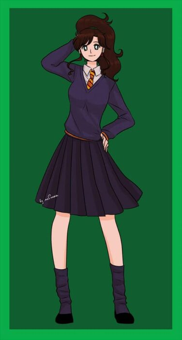 Makoto de Sailor moon con uniforme de Gryffindor de Hogwarts