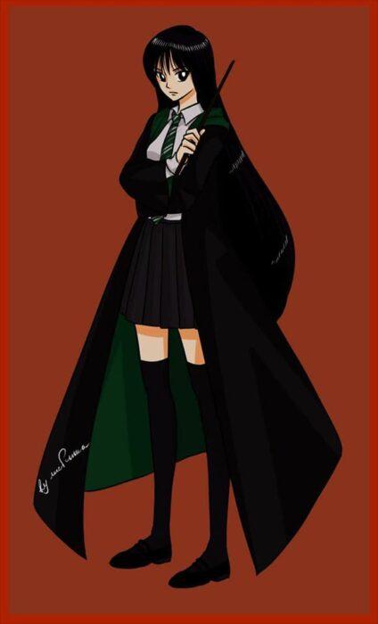 Rei de Sailor moon con uniforme de Slytherin de Hogwarts