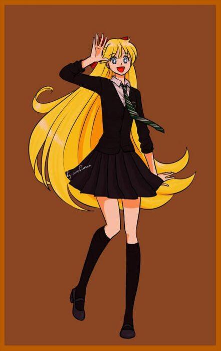 Minako de Sailor moon con uniforme Slytherin de Hogwarts