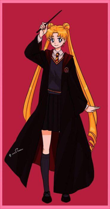 Serena de Sailor moon con uniforme de Hogwarts