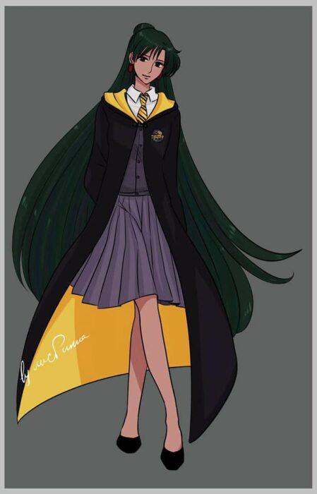 Setsuna de Sailor moon con uniforme de Hufflepuff de Hogwarts