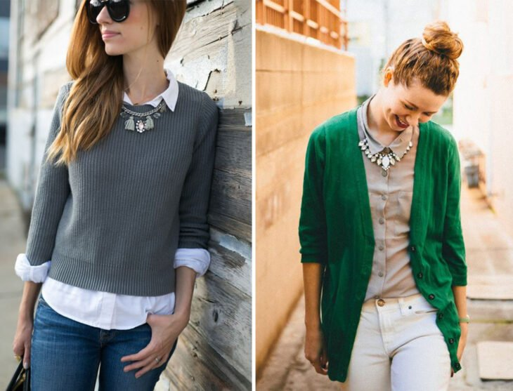 Left side: Girl wearing closed gray sweater with white shirt and jeans. Right side: Girl wearing open green sweater with beige shirt and white jeans