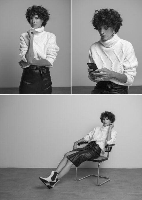 Suéter blanco y falda negra marca Map