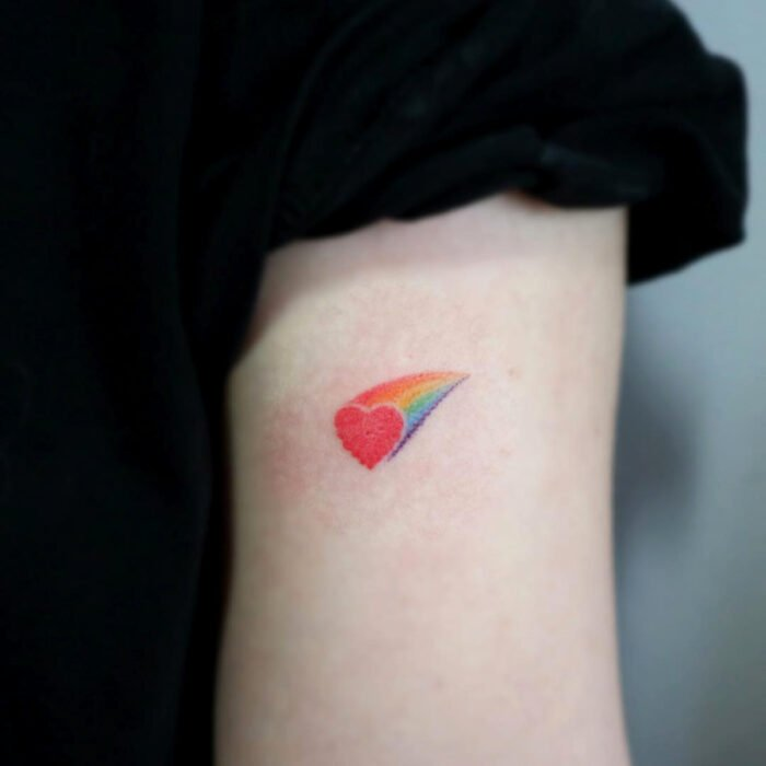 Pretty Rainbow Heart Tattoo Designs on Arm