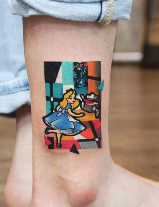 Original tattoo designs; Alice in wonderland cubist style, Disney tattoo on ankle
