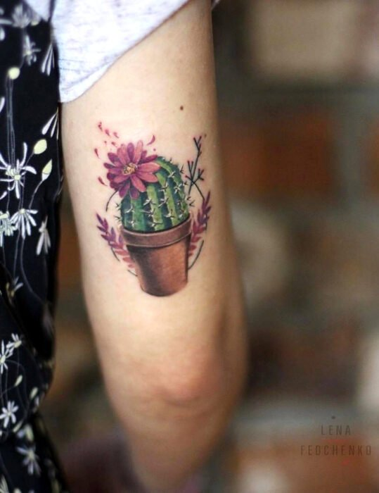 Original tattoo designs; cactus with potted flowers, realistic floral tattoo on arm