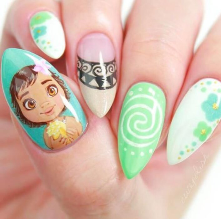 Disney-inspired manicure from the movie 'Moana'