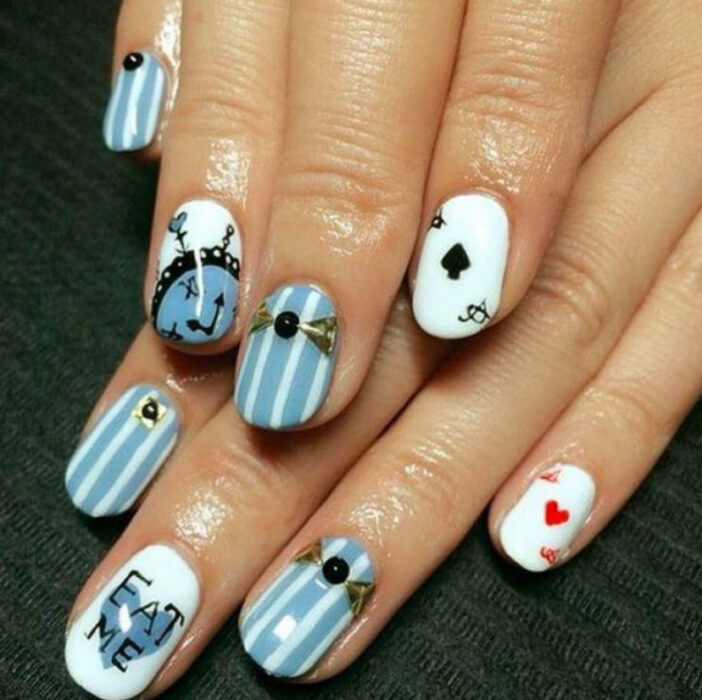 Disney-inspired manicure, from the movie 'Alice in Wonderland'