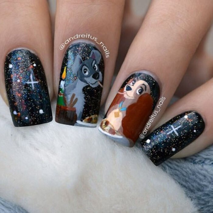 Manicure inspired by Disney, from the movie 'Lady and the Tramp'