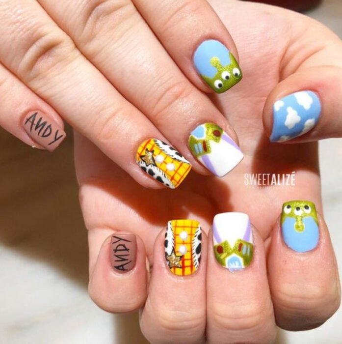 Disney-inspired manicure from the movie 'Toy Story'