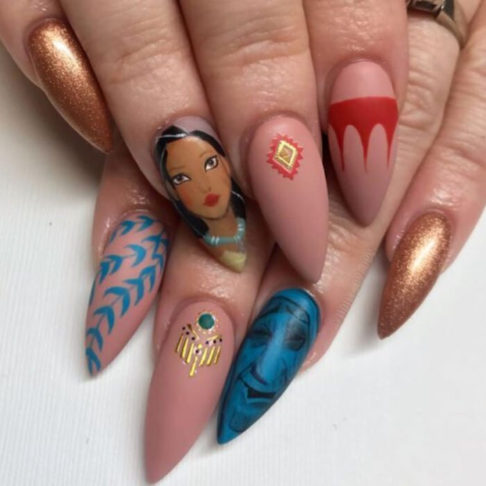Disney-inspired manicure, from the movie 'Pocahontas'
