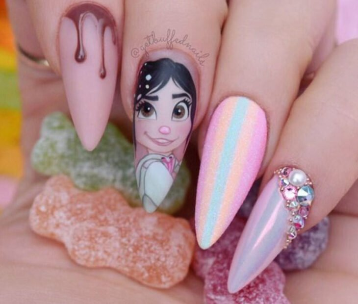 Disney-inspired manicure from the movie 'Wreck-it Ralph'