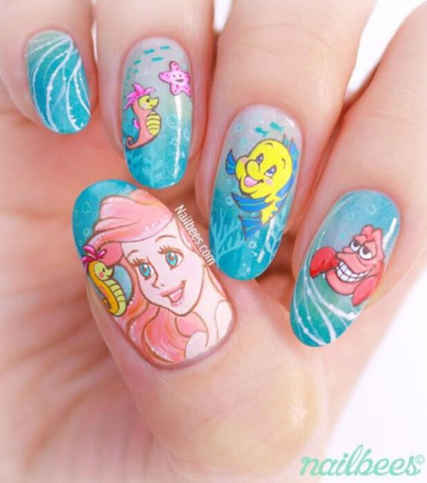 Manicure inspired by Disney, from the movie 'The Little Mermaid'