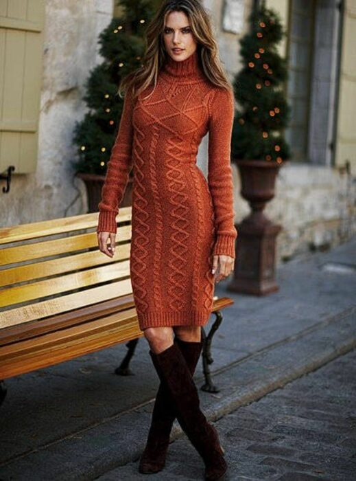 Girl wearing brick-colored knitted long dress
