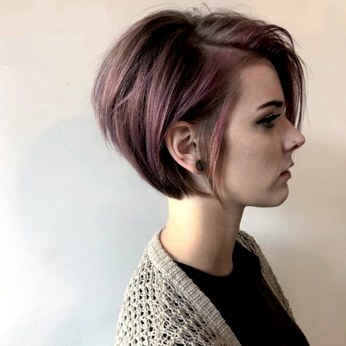 lavender hair girl with super short bob haircut with volume back