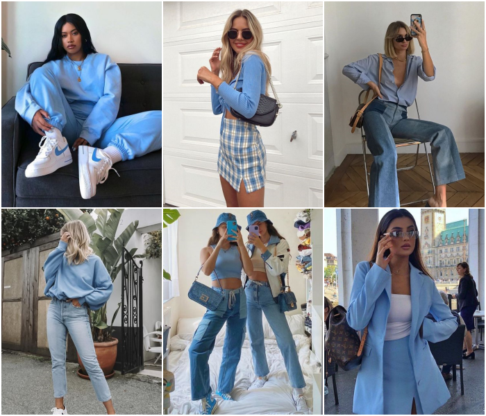 outfits en color azul para las chicas piscis