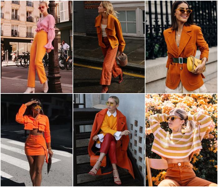 outfits diferentes de color naranja para las chicas sagitario