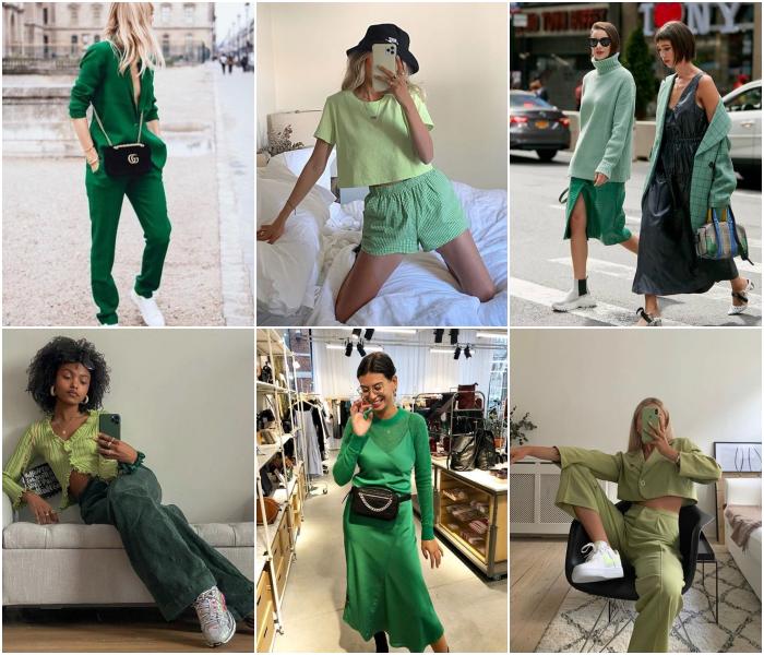 diferentes outfits de color verde para las chicas tauro