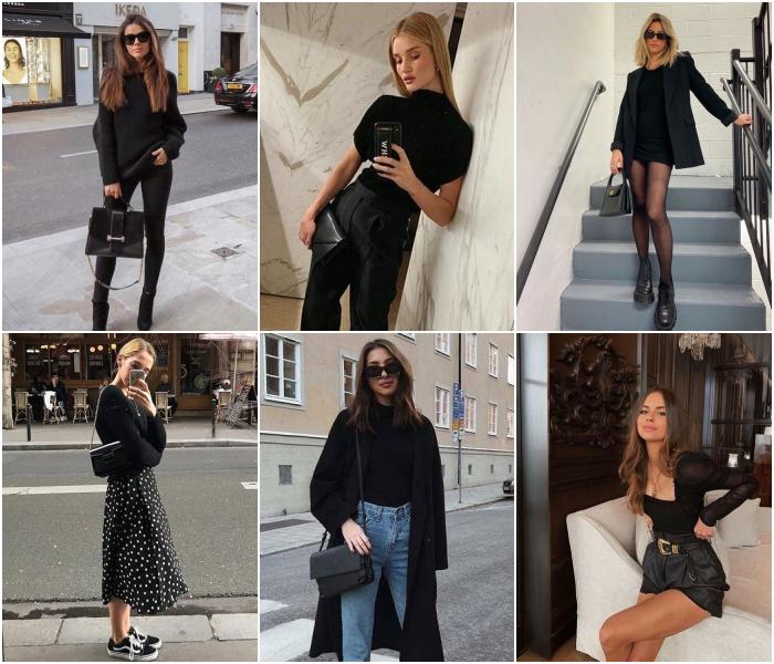 chicas con outfits diferentes de color negro para las chicas virgo