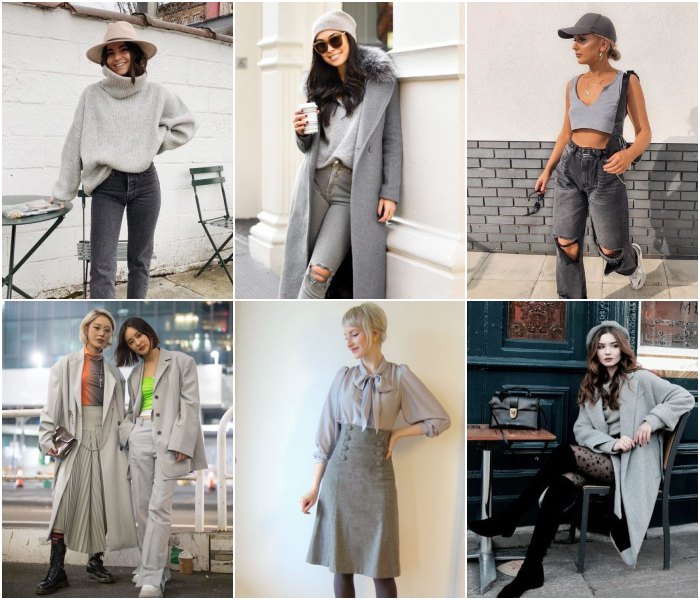 diferentes outfits de color gris para las chicas géminis
